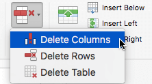 Selecione o botão excluir e, em seguida, escolha Excluir colunas ou excluir linhas.
