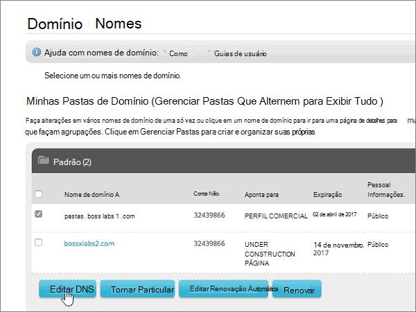 Clique em Editar DNS