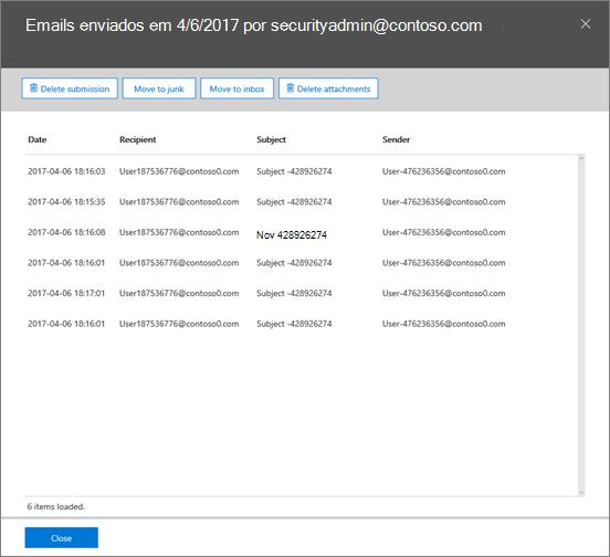 Captura de tela da lista de emails da correção incidente