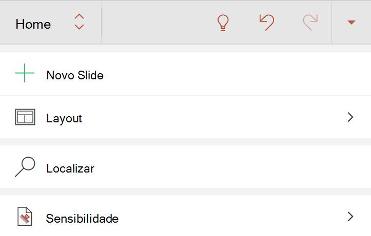 Menu sensibilidade na guia página inicial da faixa de opções do Android