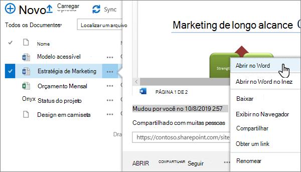 A opção abrir > abrir no menu do aplicativo selecionada para um arquivo do Word no modo de exibição clássico do portal do OneDrive online