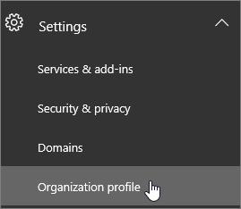 Escolha Configurações e escolha Perfil da organização.