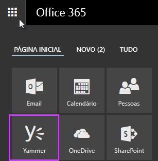 Captura de tela do inicializador de aplicativos do Office 365 com o Yammer exibido