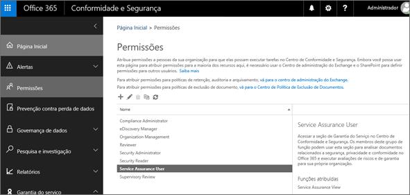 Captura de tela da página de Permissões do Centro de Conformidade e Segurança com a opção Usuário de Garantia de Serviço selecionada.