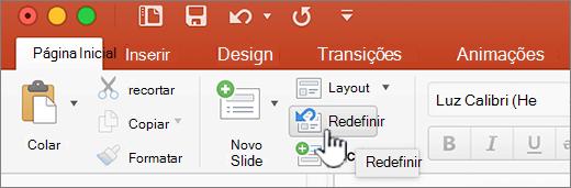 Botão Redefinir na faixa de opções inicial
