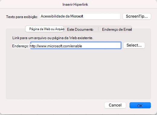 Caixa de diálogo Inserir Hiperlink no Excel para Mac.