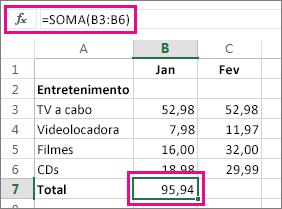 Exemplo de AutoSoma mostrando resultado