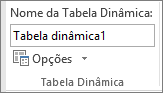 Opções de tabela dinâmica na faixa de opções