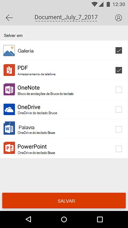 Captura de tela da captura de tela de exportação no Office Lens para Android.