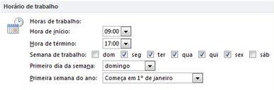 Seção Horário de trabalho na caixa de diálogo Opções do Outlook