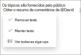 Remova ou mantenha o texto de acompanhamento.
