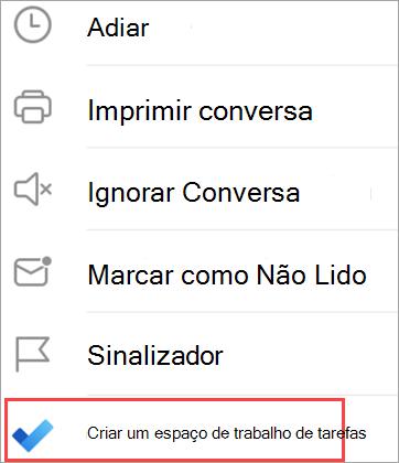 Mostra opções de email