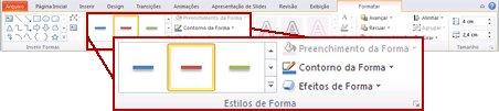 A guia Formatar em Ferramentas de Desenho no PowerPoint 2010.