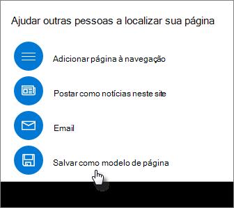 Painel promover mostrando modelo de página salvar como