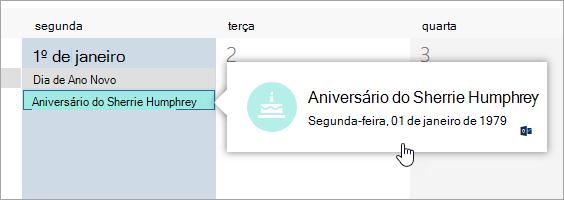Uma captura de tela da caixa de evento de aniversário