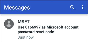 Exemplo de código de conta da Microsoft