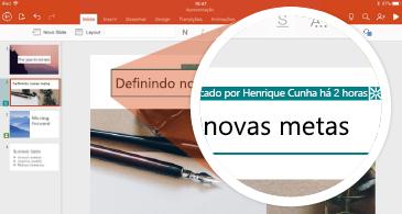 Slide com revisões e miniaturas com marcador de revisão