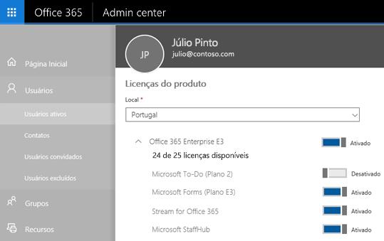 Uma captura de tela mostra a página de licenças de produto do Centro de administração do Office 365 com o controle de alternância definido como Desativado para o To-Do (Plano 2).