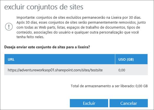 Caixa de diálogo Excluir Conjunto de Sites