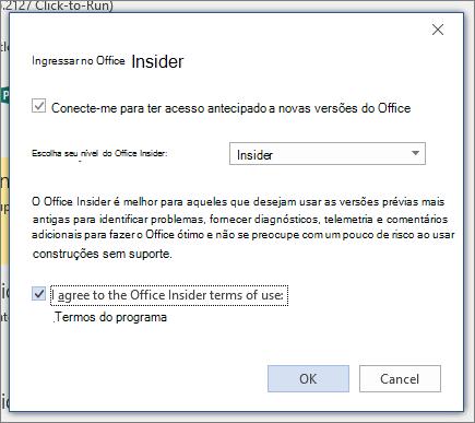 Caixa de diálogo ingressar no Office Insider