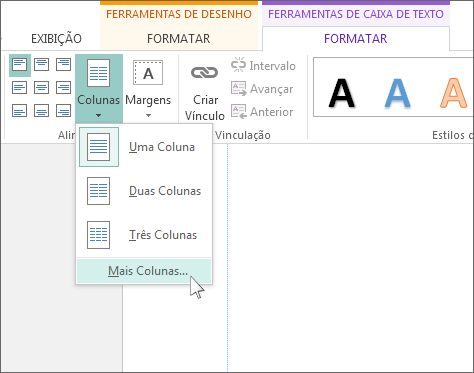 Espaçamento entre colunas nas Ferramentas de Caixa de Texto