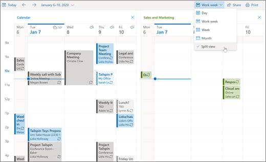 Modo de exibição de divisão no Outlook na Web