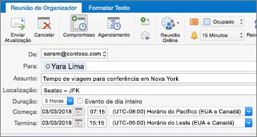 Convite de reunião mostrando dois fusos horários diferentes