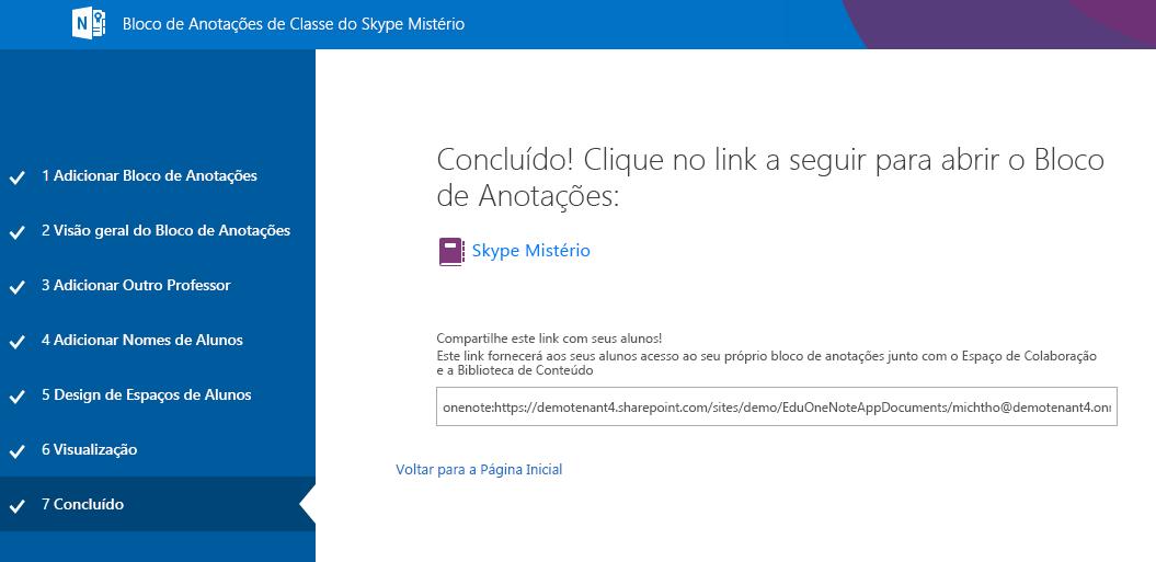 Agora a configuração do Mystery Skype está concluída