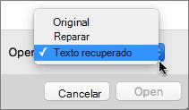 Clique em abrir > recuperar texto e, em seguida, abra o documento danificado para tentar a recuperação