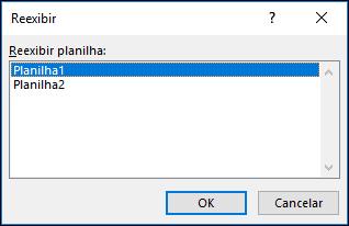 Caixa de diálogo Reexibir planilhas