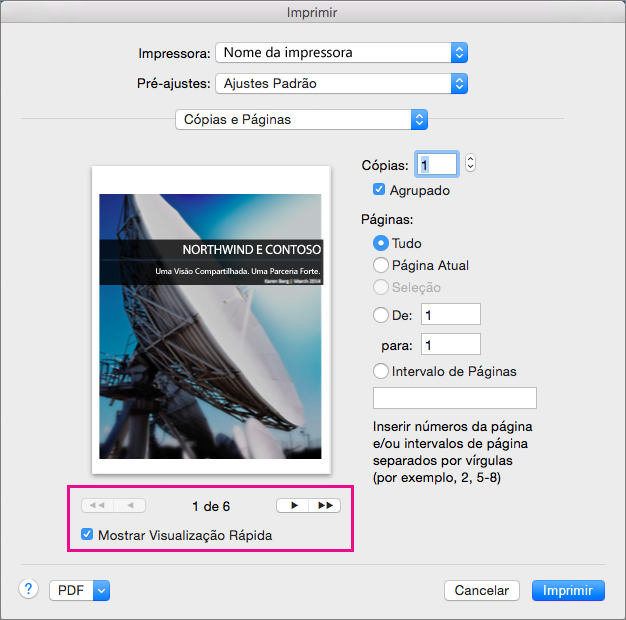 Selecione Mostrar Visualização Rápida e clique nos botões de seta para exibir visualizações de páginas no documento.