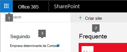 SharePoint Online canto superior esquerdo da tela inicial.