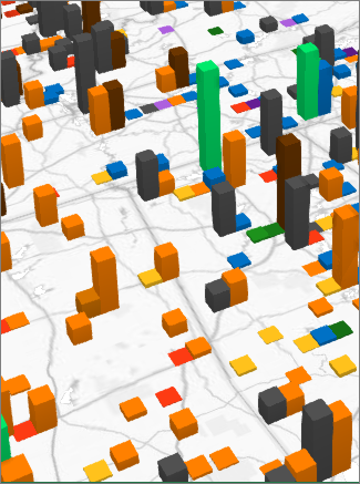 Exemplo de um gráfico de colunas clusterizado