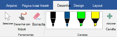 Canetas e marca-textos na guia desenhar do Office 2019