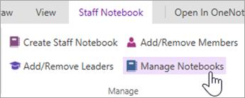 Gerencie configurações de bloco de anotações de equipe a partir da guia do bloco de anotações de equipe.