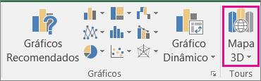 Opção Mapa 3D do Excel