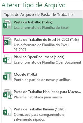 Formato da pasta de trabalho do Excel 97-2003