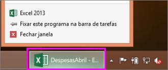 barra de tarefas com o ícone de pasta de trabalho do Excel
