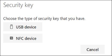 Escolha se você tem um tipo USB ou NFC de chave de segurança