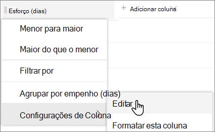 O painel Editar coluna no SharePoint com a opção Excluir selecionada