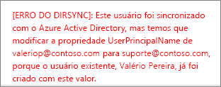 Detalhes sobre erros de sincronização de diretório de um usuário
