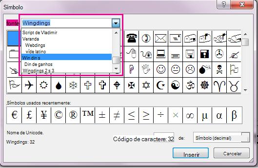 Na caixa de diálogo Símbolo, você pode rolar no menu fonte para localizar a fonte desejada.
