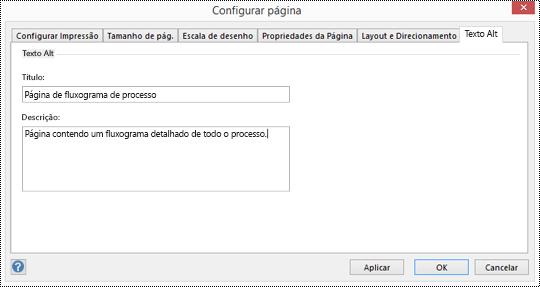 Caixa de diálogo de texto ALT para uma página no Visio.