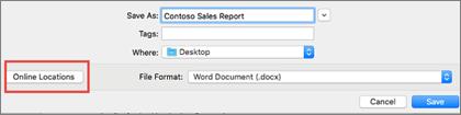 O diálogo Salvar arquivo no Word 2016 para Mac com o botão de locais Online dentro de um círculo