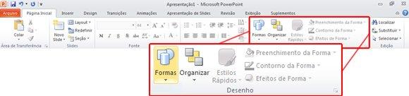 Guia Página Inicial, no PowerPoint 2010, olhando no grupo Desenho.