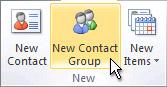 comando novo grupo de contatos na faixa de opções