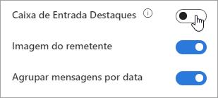 Uma captura de tela da opção Caixa de Entrada Destaques