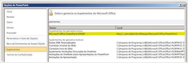 Tela de Suplementos, Opções do PowerPoint com suplemento STAMP realçado