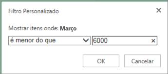 aplicando um filtro personalizado para mostrar valores abaixo de determinados critérios