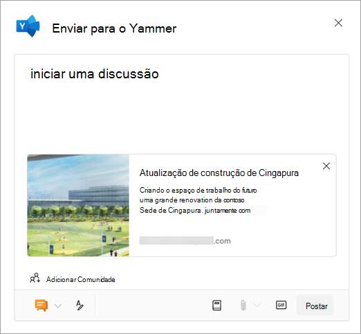Caixa de compartilhamento do Yammer